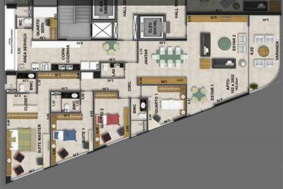 Planta do apartamento 186 m2