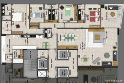 Planta do apartamento 222 m2