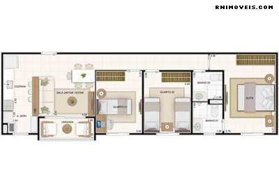Vita Residencial Clube - Planta do apartamento com 67 m2