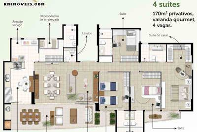 Planta do apartamento tipo da Torre Roseé 4 suites 170 m2