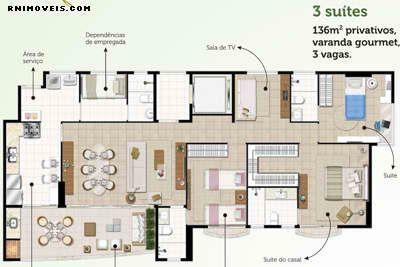 Planta do apartamento tipo da Torre Violette 136 m2