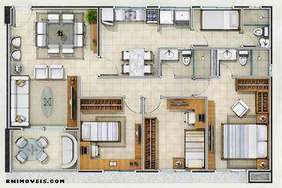Planta do apartamento no Porto Arena 96 m2