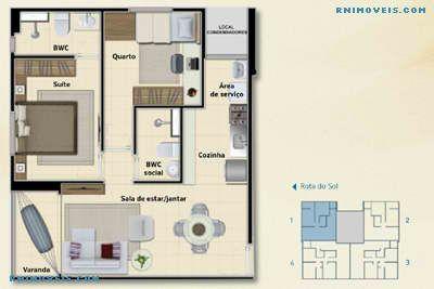 Planta do apartamento de 52,78 m2
