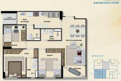 Planta do apartamento de 67,48 m2