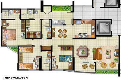 Planta do apartamento de 117 m2