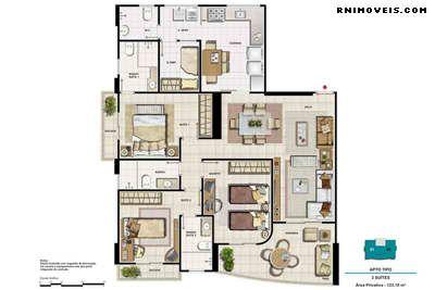Planta apartamento 123 m2